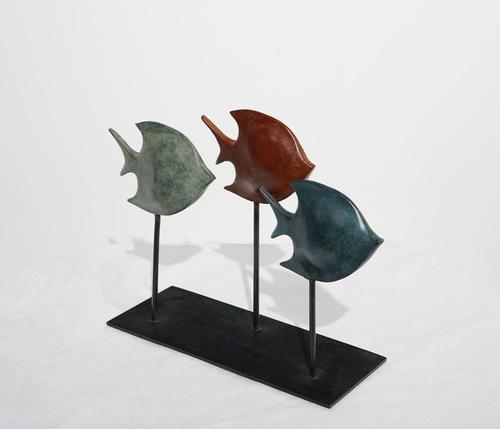 BUTTERFLIES : 3 poissons sur tige (Bronze patine classique)