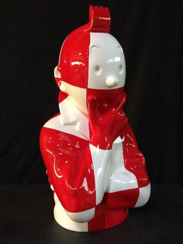 """TINTIN Penseur - """"L'ordre et le chaos"""" Damier rouge et blanc (60 cm)"""