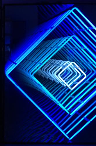 Tableau neon losange bleu turquoise