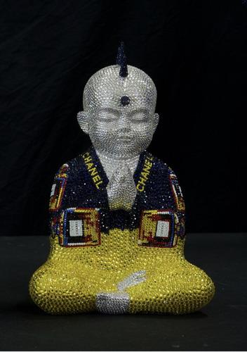 "Punkbuddha ""Chanel No.5 in yellow and blue I"" feat Warhol, 2018"
