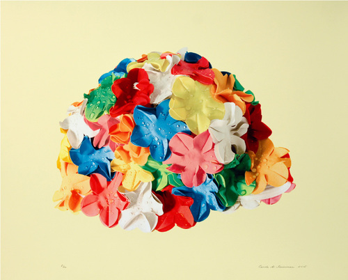 Multi-color cap on yellow background, 2015