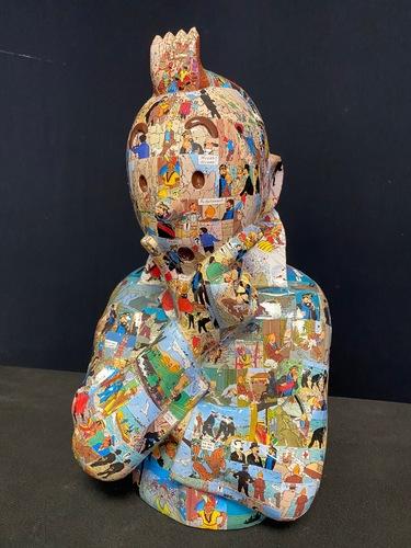 """TINTIN Penseur - """"L'ordre et le chaos"""" Temple du Soleil (40 cm)"""