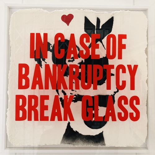 In Case of Bankruptcy - Banksy Bomb Hugger (50x50cm)