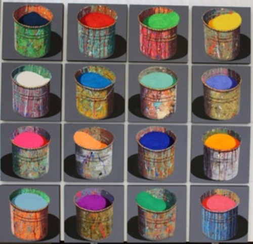 Composition - 16 pots d'artiste